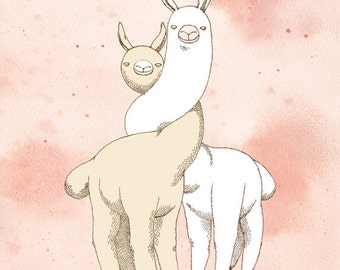 "Art Print - ""I llama You"" - 5x7, 8x10 romantic animal love"