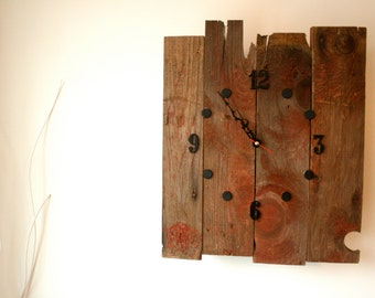 Vintage Style Reclaimed Red Barnwood Clock