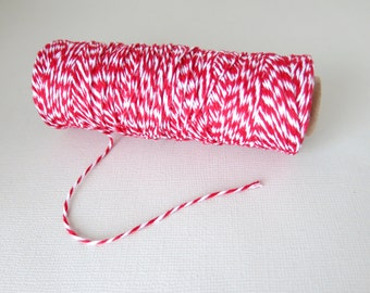 Red White - 100% Cotton - 4PLY Bakers Twine - Sold per spool - 100 Yards