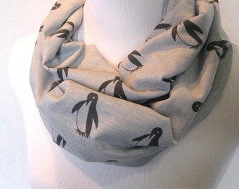 Dark Gray Penguins on heather grey jersey knit Infinity Scarf - medium length
