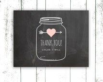 Chalkboard Thank You Cards, Mason Jar on Chalkboard, Personalized Thank You Cards, Chalkboard Thank You