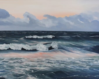 Large Ocean Waves and Cloudy Sky Original Painting