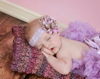 Vintage Floral Large Lavender Shabby Chic Lace Headband Preemie to Adult