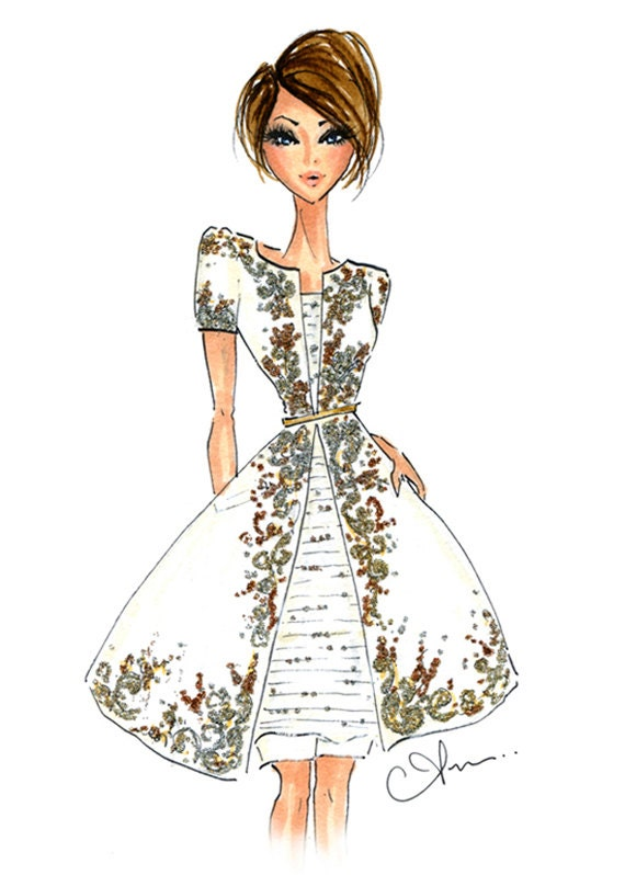 fashion illustration print chanel couture
