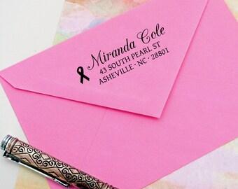 Breast Cancer Return Address Stamp  - Pink Ribbon stamp  - Self Inking -