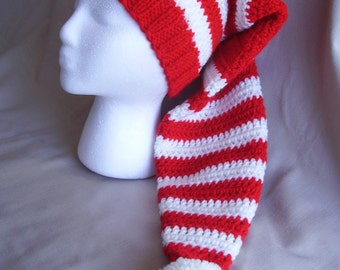 Hand knit Santa hat -  Red & White striped Christmas hat, extra long