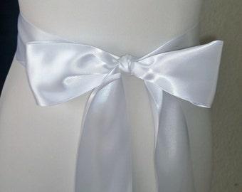 White Wedding Sash- 1.5 or 2.5 Simple Satin Sash- Bridal Sash-Wedding Belt- Bridesmaid Sash- Bridal Belt- Plain Sash-Simple Belt-Flower Girl