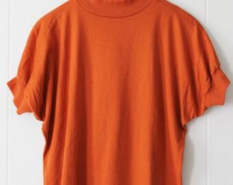 Vintage Bright Orange Tee Shirt Size L