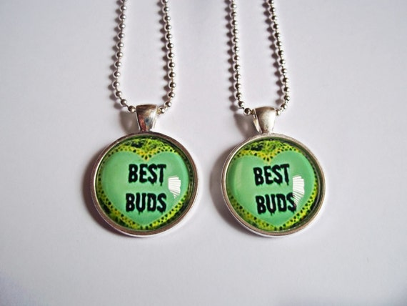 best buds necklaces bff marijuana necklace by kreepshowkouture
