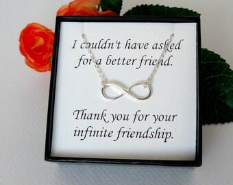 Infinity Necklace , Best Friend Infinity necklace , Silver Infinity Charm Necklace, Infiniti , Friendship, Figure 8 eternity