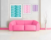 8x10 Modern Colorful Triangles Geometric Mid Century Wall Art Wall Decor Pink Mint Teal Purple Office Wall Decor - ThePinkFoxDesigns