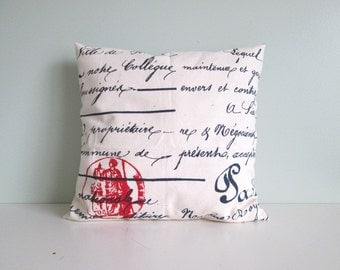 Square/ Boudoir Pillows Covers. French Script Pillows Covers