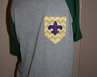 Mardi Gras Pocket Off-the-Shoulder Shirt Chevron