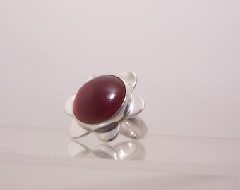 Large Carnelian Silver Ring handmade with a Round Red Gemstone  set on a flower Sterling Silver, Flower.Statement or cocktail