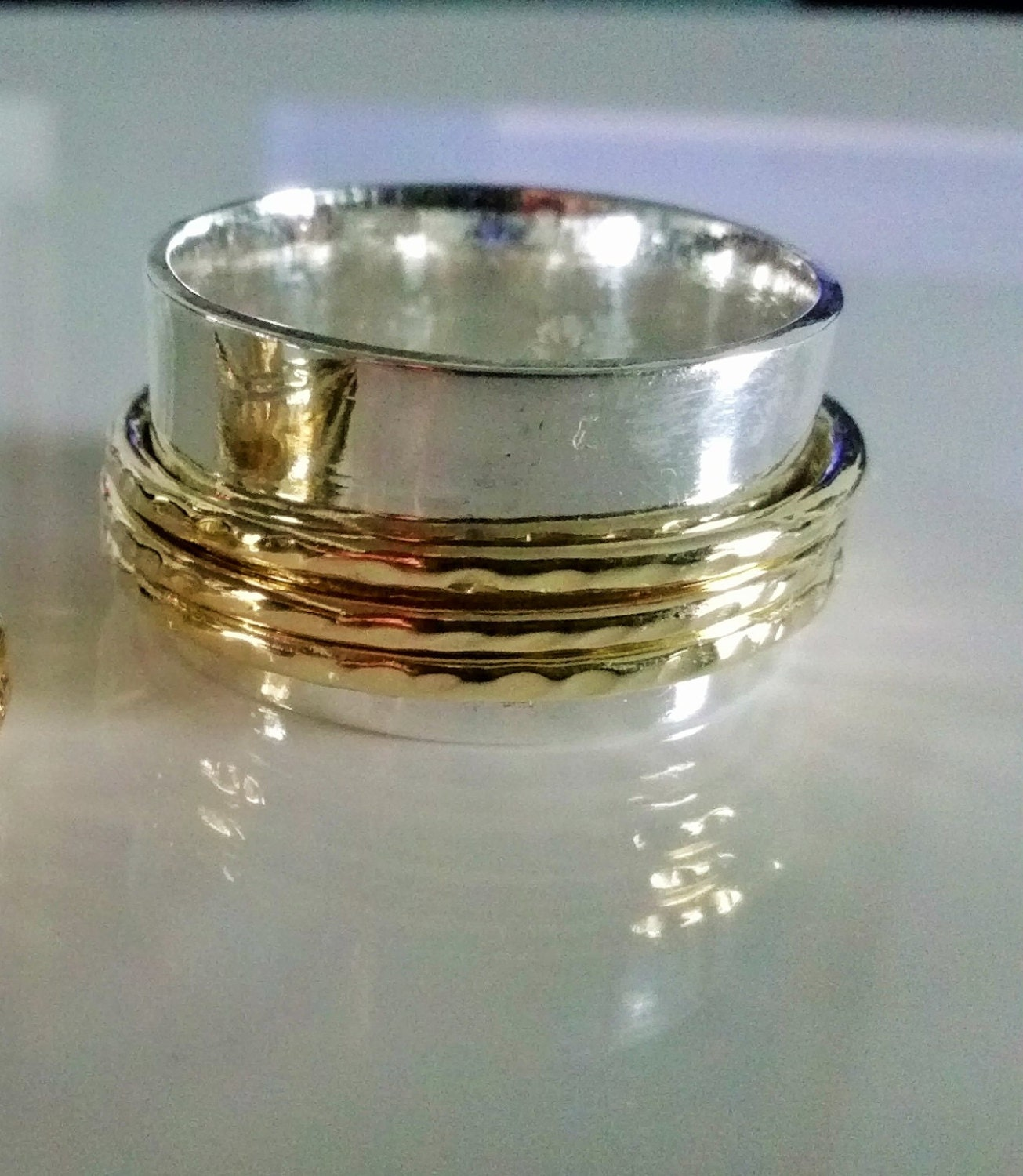 gold 18k spinner ring band handmade with sterling silver and
