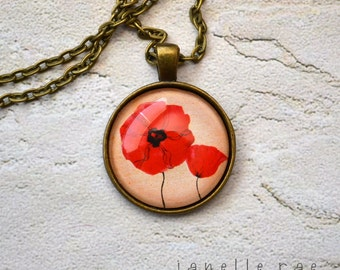 """Glass Pendant Necklace - Bright Red Poppies 1 inch glass pendant 24"""" necklace"""