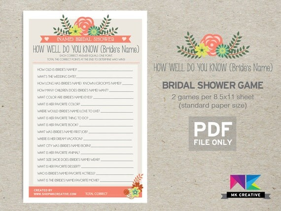 How Well Do You Know The Bride's Name : Bridal By