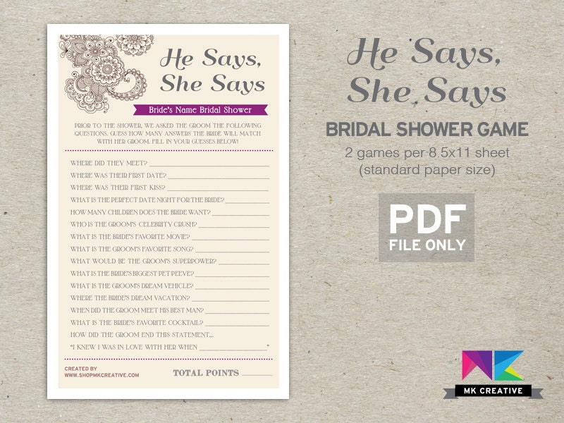Personalized bridal shower game he says she by shopmkcreative