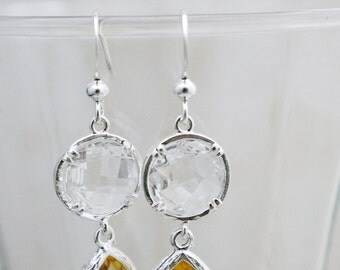 CLEARANCE Earrings,  silver crystal and yellow dangle earrings