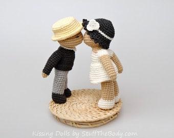 Kissing Dolls Amigurumi Pattern, Wedding Crochet Gift, Bride and Groom, Wedding Topper, valentines day, bridal shower, diy
