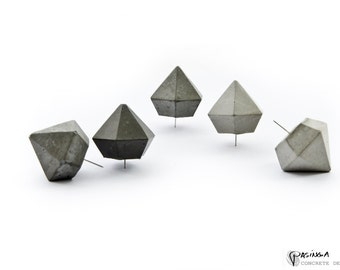 Concrete Diamond Push Pins, Set of 5 cement diamond push pins, modern minimal industrial office decor, beton push pin, pinboard pin