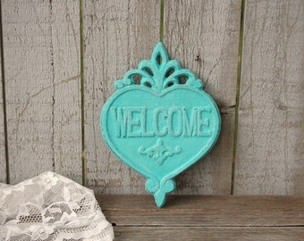 Welcome Sign, Shabby Chic, Turquoise, Aqua, Beach Decor, Hand Painted, Cast Iron, Distressed, Cast Iron Sign, Door Decor, Wreath Decor