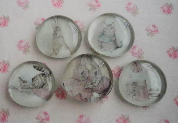 Vintage Storybook Bunnies Rabbits SET of 5 Handmade Glass Marble Fridge Magnets ready to ship Easter