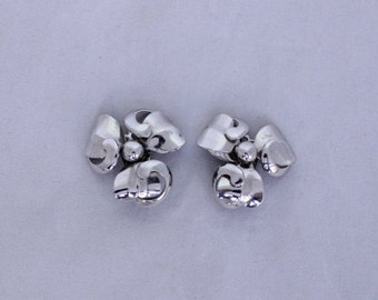Shiny Silver Coro Clip Ons, Signed Coro Earrings, Signed Coro Clip Ons, Coro Clip Earrings