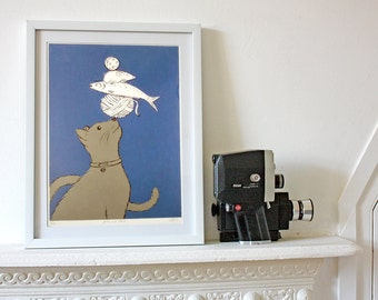 Cat Stack Purple Screenprint - nursery, baby shower, christening - hand made wall art with a shabby chic vintage retro feel