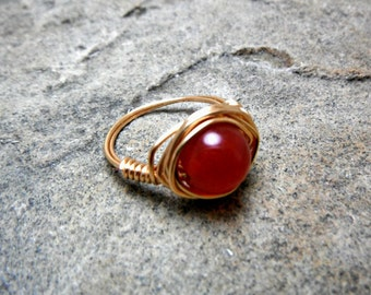 Cherry Red Jade Ring, Light Gold Ring, Wire Wrapped Ring, Jade Stone Ring, Wire Wrapped Jewelry Handmade, Copper Ring