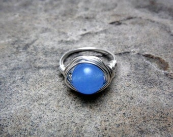 Blue Jade Ring, Wire Wrapped Ring, Blue Ring, Blue Stone Ring, Wire Wrapped Ring, Wire Wrapped Jewelry Handmade, Silver Ring