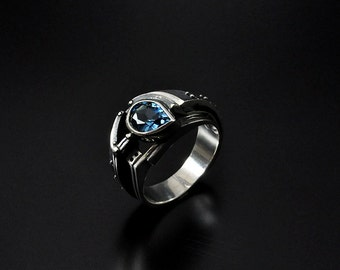 "Silver Industrial Ring  ""Probatundum"" with Topaz 