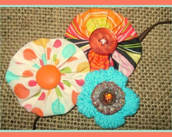 Flowered Headband for Baby Girls, YoYo Fabric Flowers, Crochet Flower Skinny Elastic headband