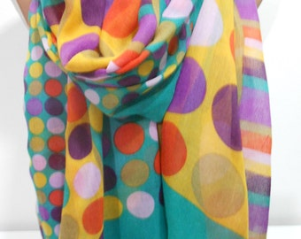 Polka Dots Scarf Shawl Summer Scarf Pareo Spring Scarf Lightweight Yellow Green Scarf Beach Wrap Women Fashion Accessories Gift Idea For Her
