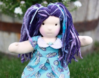 """Waldorf-Inspired Doll: 12"""" Natural Material Cloth Doll, with Purple/Turquoise-Blue Handspun Wool Hair.  Modern Waldorf Doll"""