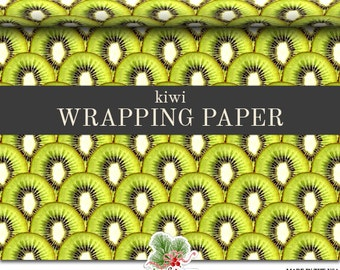 Green Kiwi Fruit Wrapping Paper |  Green Kiwi Slices Photo Gift Wrap In Two Sizes Great For Any Occasion. Made In The USA
