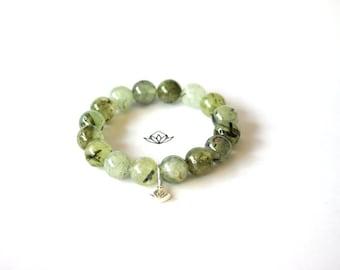 Natural Rutilated Prehnite Beads Stretch Bracelet in 10, 12, or 14mm diameter