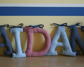 "Customized name banner. Personalized Decor. Fabric Wall Letters. Big Letters 7,1"". Name of Child, Name Banner. Nursery decor. Made to order"