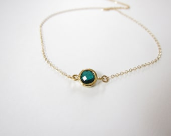 Silver version available Tiny Emerald Necklace, Gold Necklace, tiny Gold Necklace, Channel Necklace, Dot Necklace  ), May Birthstone