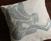 Mermaid Pillow Cover (18 x 18 inch)  color: navy blue on rustic canvas