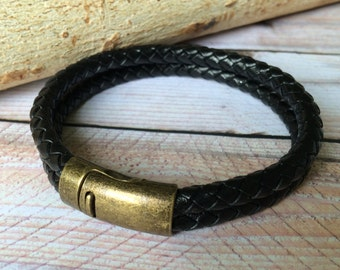 Black Braided Double Strand Leather Bracelet with Magnetic Clasp, Leather Bangle, Brass and Black Leather, Mens Leather Bracelet,Unisex