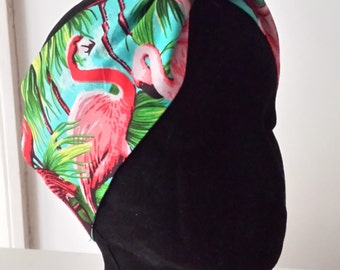 Flamingo head scarf band bandanna rockabilly tropical tiki headband headscarf hair wrap