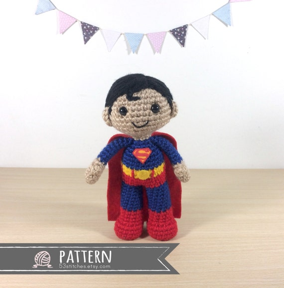Knitting Pattern Superman Doll : Superman Amigurumi Crochet Doll Pattern from 53Stitches on Etsy Studio