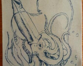 Decorative Ceramic Squid Plaque, Handmade, Glazed, Hanging Artwork