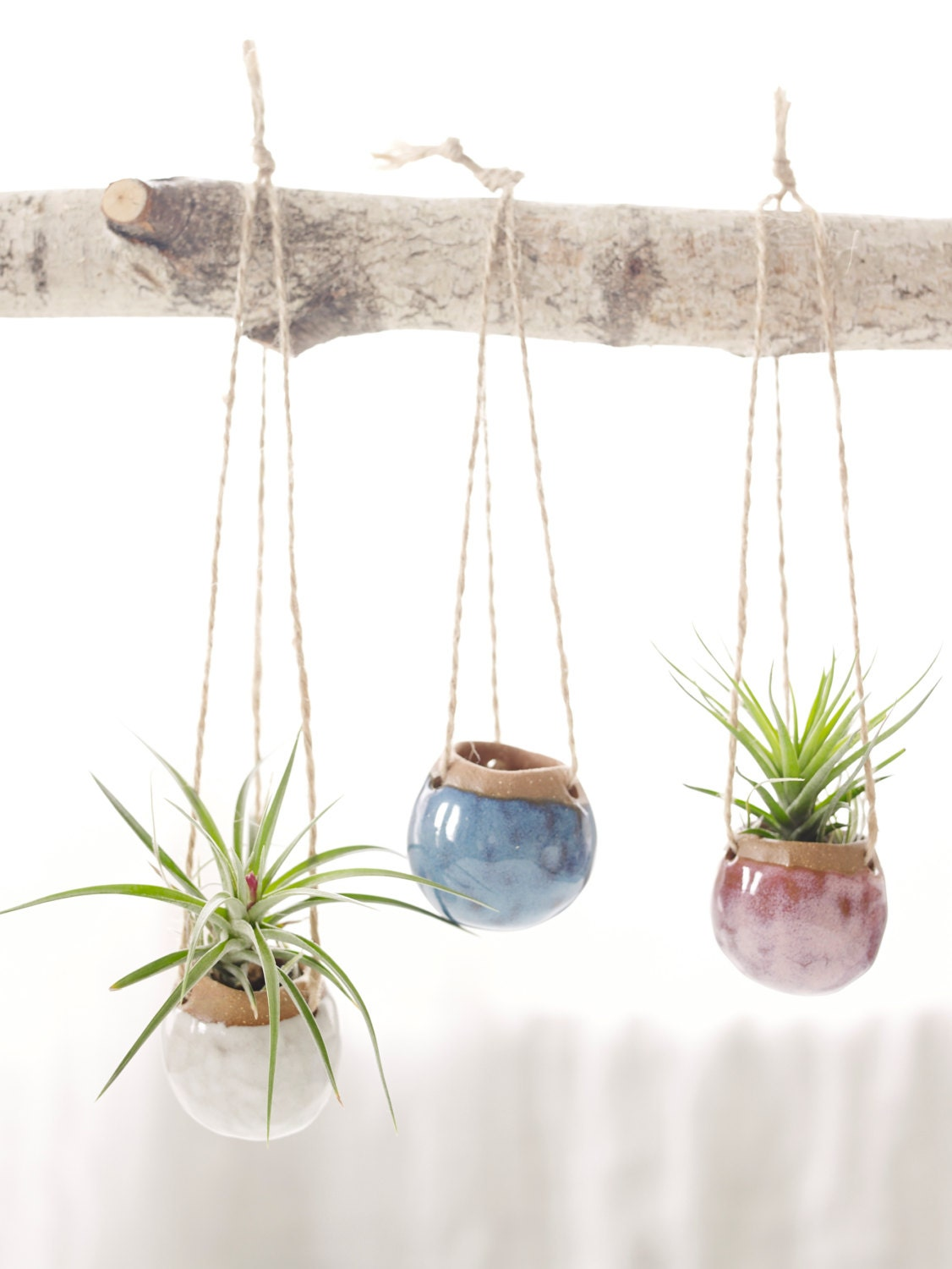set of three small hanging planters made to order by corpottery. Black Bedroom Furniture Sets. Home Design Ideas
