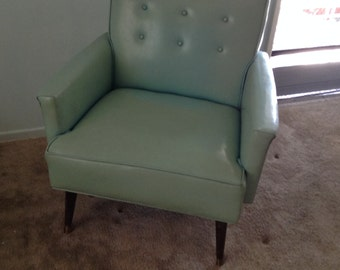 Light Blue Naugahyde arm chair 1950's 1960's MOD!