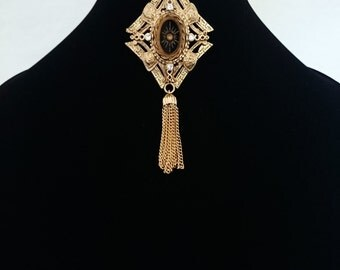 70s Black and Gold, Tasseled Brooch
