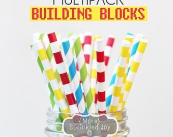 BUILDING BLOCKS Paper Straws, Multipack, Chevron, Dots, Vintage, 25 Straws, Lego, Party, Red, Green, Yellow, Blue