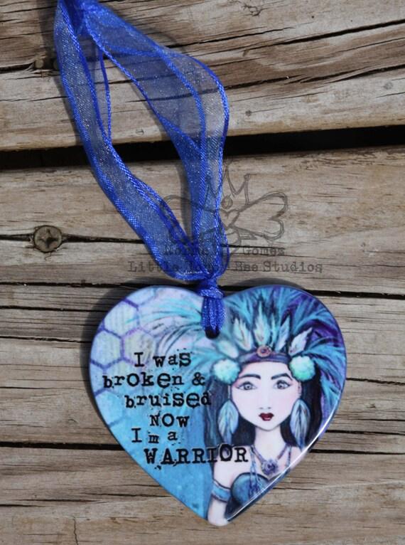 Porcelain Heart Shaped Ornament: Warrior