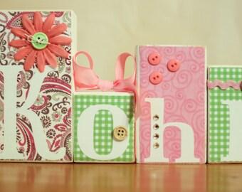 Shabby Chic Baby Shower- Vintage Baby Shower Decor- Custom Name Blocks- Shabby Chic Nursery- Custom Baby Name Blocks- Pink Green Nursery